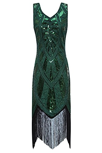 Metme 1920s Vintage Inspired Fringe Embellished Gatsby Flapper Midi Dress Prom Party (M, Green)
