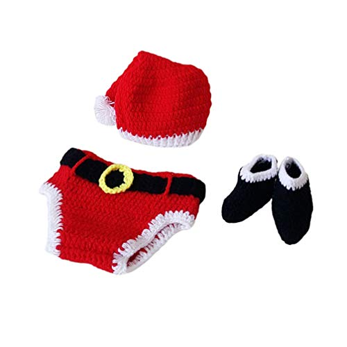 Amosfun Baby-Outfits Fotografie Requisiten Baby gestrickte Outfits Weihnachten Hut Schuhe hundert Tage Foto Requisiten für Baby Kleinkind Neugeborene Kostüm Outfits - Adorable Kleinkind Kostüm