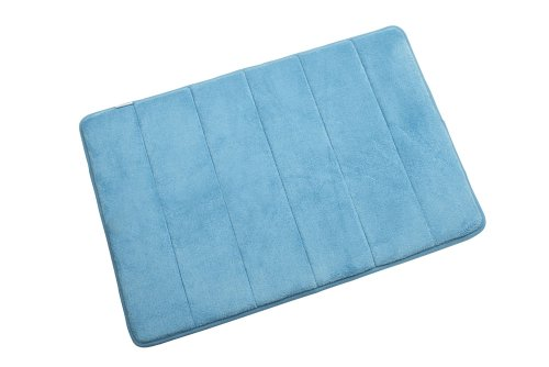 Croydex 60 x 40 cm Small Memory Foam Textile Bathroom Mat, Blue