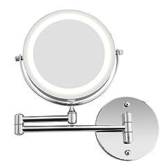 Idea Regalo - BATHWA Specchio Ingranditore con luce LED, Specchietti da Trucco a Parete Bilaterali a LED, Girevole Orizzontali a 360 ° e Verticali, Cromato in Metallo, Lente d'ingrandimento 5x e Specchio Piatto