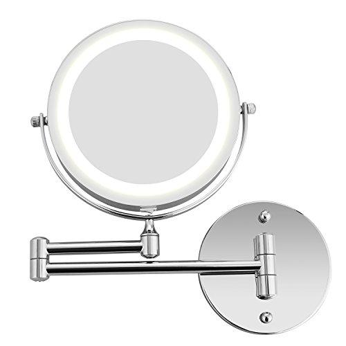 *Athomestore Kosmetikspiegel mit LED Beleuchtung, Kosmetikspiegel beleuchtet wandmontage, vergrößerungsspiegel 1x/5xFach – 360° Horizontal Schwenkbar und Vertikal, Metall Verchromt*