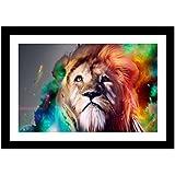 UQ Papier peint photo Format A3 (29.7x42cm)+ Cadre photo mural En bois Tableau Poster Peinture Décoration mural Lion triste