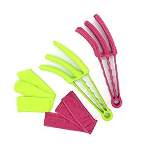 Povad Set of 2 Triple Venetian Blind Cleaner - Removable,Hand Washable Microfibre Fabric Window Duster For Wet Or Dry Cleaning Of Slats