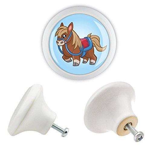 Möbelknopf Keramik 06241W Pony Pferd Kinder bunte Motive Oberfläche in glänzender edler Glas Optik Antik Porzellan Shabby Chic Möbelknöpfe Griffe Knäufe für Schrank Schublade Kommode Kinderzimmer