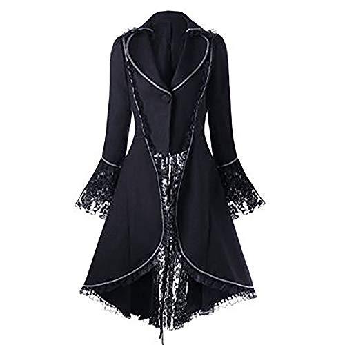 Liyukee Las Mujeres de Encaje Recortar con Cordones de Alto Abrigo bajo Negro Steampunk Estilo Victoriano de la Chaqueta gótica Medieval Noble Corte de la Princesa Vestido