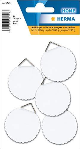 HERMA 5749 Bildaufhänger zum kleben, groß (Ø 45 mm, 6 Stück, Papier mit Leinenstruktur) selbstklebend, wasserlöslich gummiert, Tragkraft 1.200 g, weiß