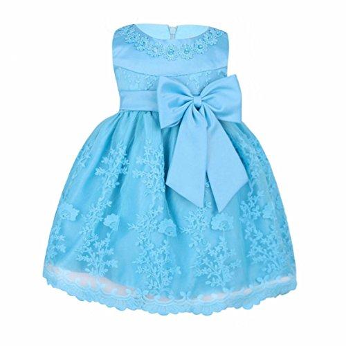 (iiniim Baby Mädchen Prinzessin Kleid Blumenmädchenkleid Taufkleid Festlich Kleid Hochzeit Partykleid Festzug Babybekleidung Gr. 68-92 Himmel Blau 80-86/12-18 Monate)