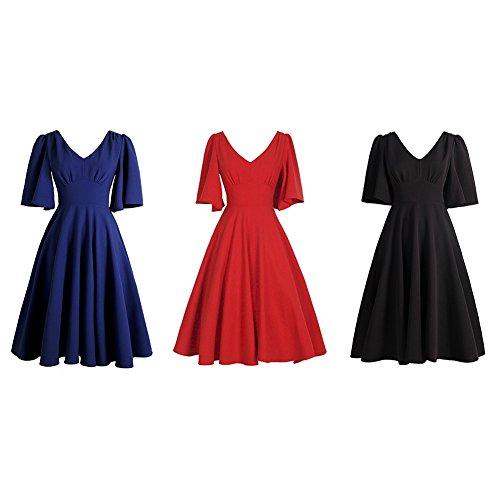 iShine® 50s Retro Vintage Rockabilly VAusschnitt 1/2 Arm Knielang kleid  Abendkleid Partykleider Cocktailkleider Rot