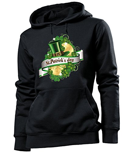 St.Patricks Day Kostüm 4568 Frauen Costume Clothes Oberteil Green Hoodie Verkleidung Gruppenkostüm Damen Kapuzen Pullover Sweatshirt Pulli Schwarz L (Girl Irish Kostüm)