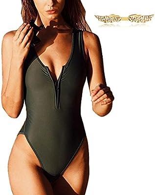 BYD Mujeres Trajes de una pieza Negro Puro Bañador Push Up Bikinis Ropa de baño con Cremallera