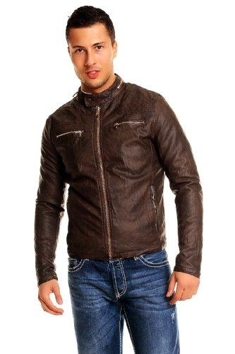 ENOS Lederjacke Kunstleder Herren Biker Jacke Clubwear 8769 braun XXL