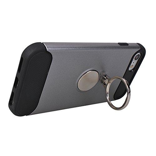 Rosa Schleife iPhone 7 / 8 3 in 1 Hybrid Hülle Stoßfest Outdoor Schutzhülle mit Ring Handyhalter und Metall für Magnet KFZ Halterung Case Cover Schwarz Grau