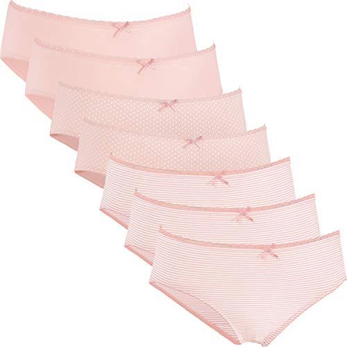 REDBEST Damen-Slip 7er-Pack Single-Jersey Spitze Altrosa Größe 40/42