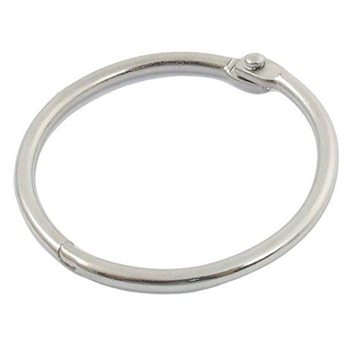 Anneaux de livre - TOOGOO(R)5 pcs 4cm de diametre forme ronde clip en metal anneaux a feuille porte-cles en argent