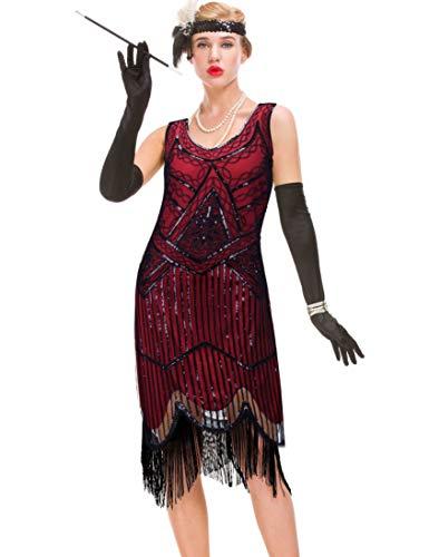 GVOICE Damen 1920er Jahre Vintage Kleid - Fransen Great Gatsby Kleid (rot, XS(UK 8 / EU 36) Bust 31.5