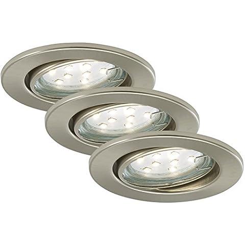Briloner Leuchten - LED empotrable, foco, 3 x LED, GU10, 3 W, giratorio, redondo, níquel mate, GU10 3 watts