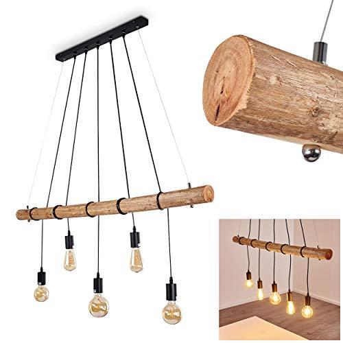 Pendelleuchte Seegaard, Hängelampe aus Metall/Holz in Schwarz/Braun, 5-flammig, 5 x E27 max. 60 Watt, moderne Hängeleuchte geeignet für LED Leuchtmittel -
