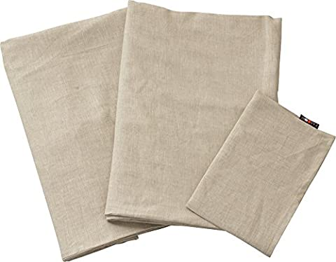 EMOOR 100% Linen 3-piece Cover Set for Japanese Futon (Comforter Cover, Futon Mattress Cover and Pillowcase) , Twin Size, Beige