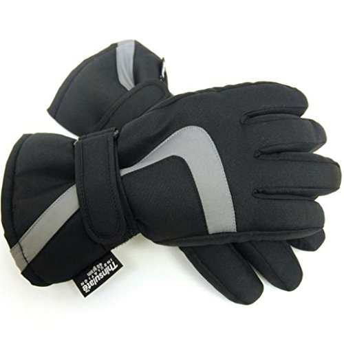 Kids Ski Gloves for Winter Sports, Skiing, Snowboarding - Boys or Girls - Warm, Thermal, Padded – Black 6-7 Years