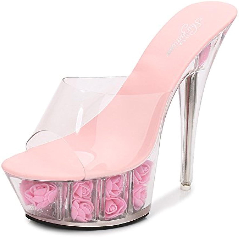 XiaoGao Zapatos de boda de cristal transparente, flores, Tacones ...