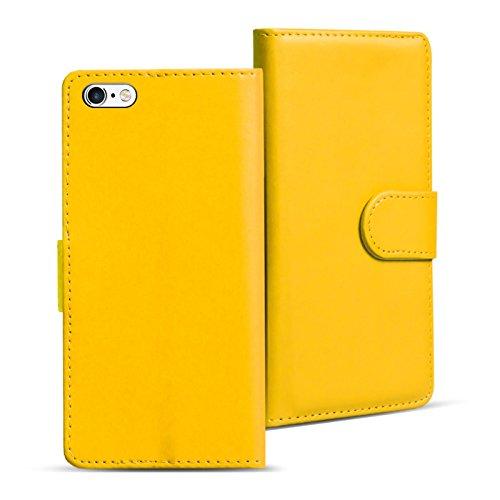 iPhone 6S, 6 Bookstyle Hülle, Conie Mobile PU Leder Schutzhülle Handytasche Bookcase Tasche Premium Klapphülle in Weiss Gelb