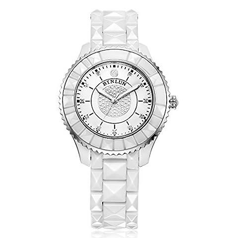 Binlun Blanc en céramique pour homme Quartz Analogique poignet montres avec aiguilles lumineuses, étanche Robe montre