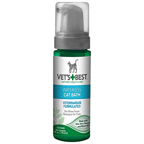 Vets Best No Rinse Waterless Dry Shampoo for Cats, Natural and Veterinarian Formulated