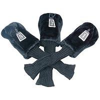 Longridge WC3LB - Funda para Hierros de Golf de Madera con Cuello Alto (3 unidades), color Negro, talla única