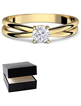 Goldring Verlobungsringe Gold 333 GRATIS LUXUSETUI Goldring 333er Gold Ring echt von AMOONIC mit SWAROVSKI Zirkonia...