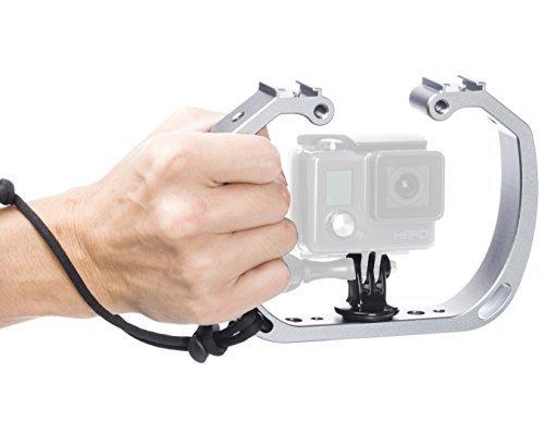Movo GB-U70 Unterwasser-Tauchgarnitur mit Kaltschuhhalterung & Handgelenkschlaufe für GoPro Hero Hero3, Hero4, Hero5, Hero6, Hero7 und andere Wasserdichte Action Cams