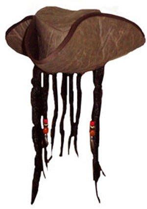 Pirat Kapität Hut mit Perlen und Angenäht Falsch Dreadlock Haare (Piraten Kostüm Herren Uk)