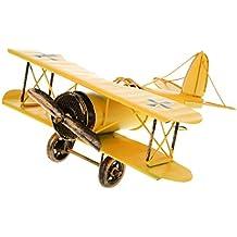 Juguetes Juegos Decoraciones Hogar Colección Modelo Avión Biplano Metal Estaño 21*22*9.5cm - Amarillo