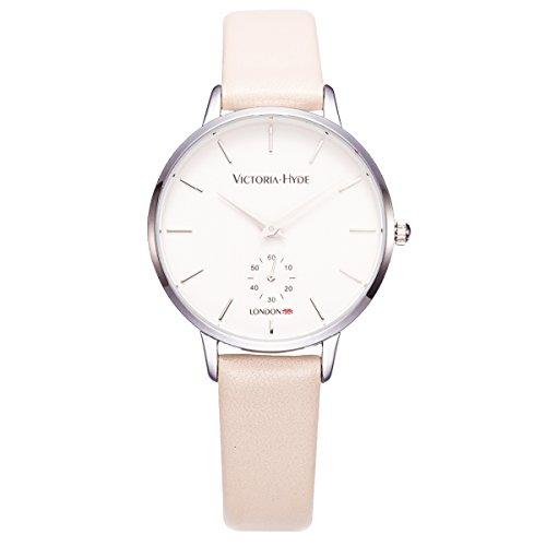 VICTORIA HYDE Damen Uhren Sommer mit Leder Band Beige für Frauen Modern Quarz Armbanduhren Markenuhren Wasserdicht 3 bar