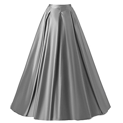 Xiongfeng®Damen A-Linie Satin Maxi Vintage Rock mit Hohe Taille, Silbern, M