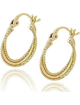 juvel-jewelry Fashion Noble Style 14K Gold vergoldet Creolen Ohrringe 3Kreise runde Form für Party