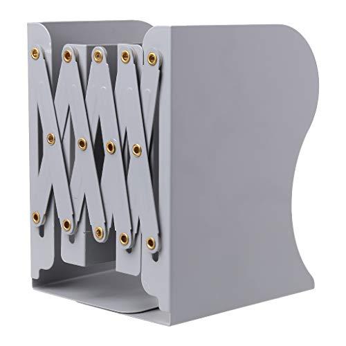Junlinto, extensión Ajustable Sujetalibros de Metal Heavy Duty Book Desktop Carpeta de Archivos Soporte retráctil Bookshelf Rack Holder Gris