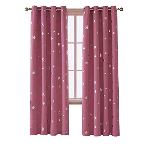 Deconovo Vorhang Blickdicht Gardinen Sterne Verdunkelungsvorhang Ösen Vorhänge Kinderzimmer 245x140 cm Pink 2er Set