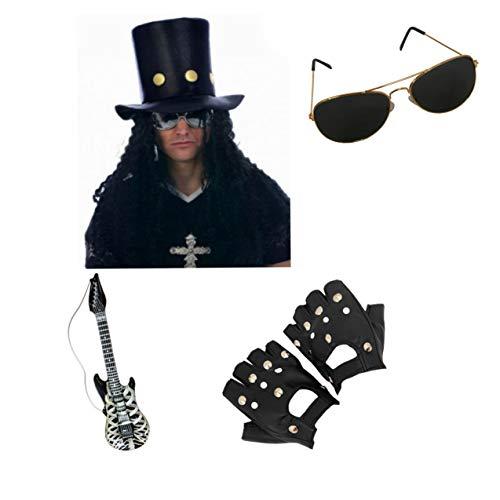 Party Slash Kostüm - Seemeinthat Slash Hut Gitarre Handschuhe Brille 90er Jahre Waffen und Rosen Rocker Kostüm Zubehör Gitarristen