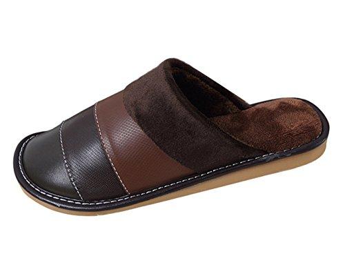 Icegrey Pantoufles Unisexe Confortable En Molleton Faux Cuir Peluche Maison Chaussures Couples Amoureux Marron