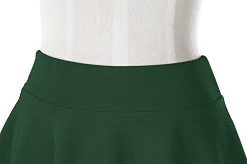 Urban GoCo Donna Moda Svasata Mini Gonna da Pattinatrice Versatile Elastica Solida Colore Gonna Verde scuro-lungo