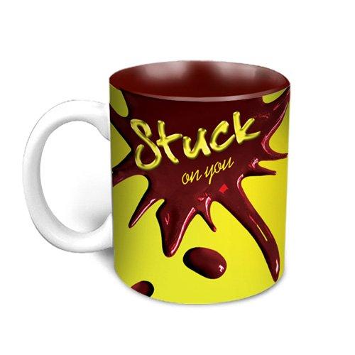HotMuggs Love Splash - Stuck On You Ceramic Mug, 350ml, Multicolour