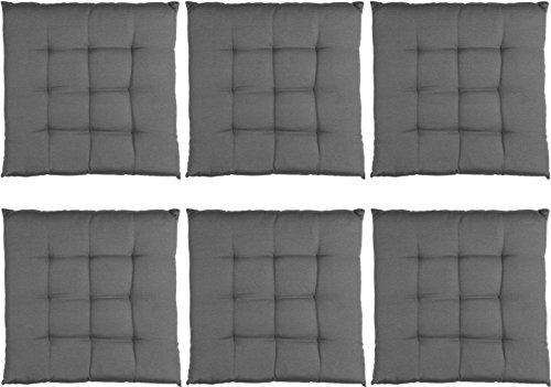S.Ariba Komfort-Sitzkissen im 1er, 2er, 4er und 6er Set 40x40x4 cm erhältlich in verschiedenen Farben | 6er Set Anthrazit