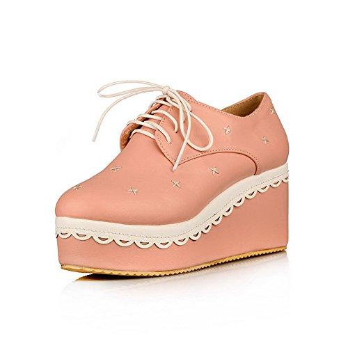 AgooLar Damen Schnüren Pu Leder Rund Zehe Hoher Absatz Rein Pumps Schuhe Pink xSSupj