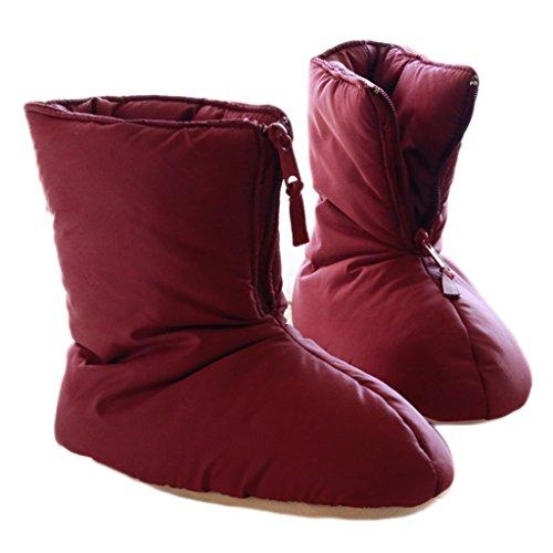 Fortuning's JDS Unisexe Adultes Confortable Matelassé Maison Chaussures agréable forme plate fermeture éclair Emballage Chaussons Tenue d'intérieur Rouge