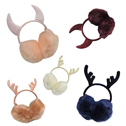 Haodasi Fashion Femmes Multicolor Faux Fourrure Cache-oreilles Cornes d'Antlers Peluche Lovely Cache-oreilles 02#