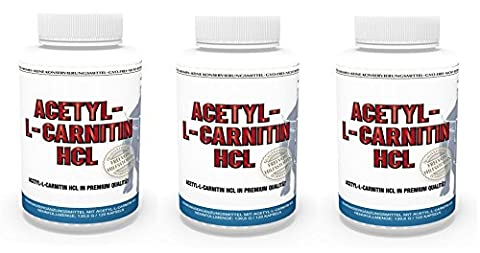Vita World Pack de 3 Vita World Acetyl L-carnitine 1000mg 360 Capsules (3 x 120) doses très élevées haute biodisponibilité Made in Germany acétyl-carnitine
