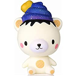 mi ji Squishy Kawaii,Oso Squishy Juguete,Squishy Doll Squishy Toy Perfumada Lenta Levantar Exquisito Muñecos y Figuras Juguete Antiestrés para niños(Blanco Oso/Galaxia heces )
