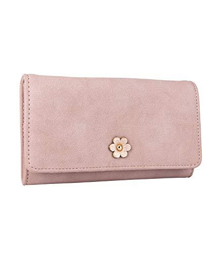 SIX Damen Portemonnaie, längliche Geldbörse in zartem Altrosa mit Verschluss in Blütenform in metallic (Piraten Geldbörse Herz)