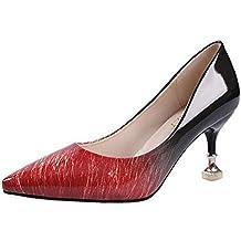 bb38fdfff396c0 Qimaoo Damen Riemchensandalen 6cm Blockabsatz Sandalen Knöchelriemen  Sandaletten Sommer High Heels Schuhe mit Absatz
