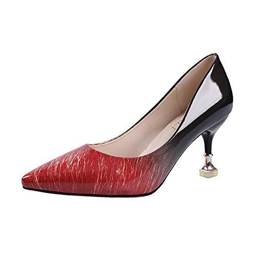 Qimaoo Damen Pumps 7cm High Heels Elegant Abendschuhe Sandalen Sommer Schuhe mit Absatz, Gr.- 36 EU, Rot-7cm Pumps